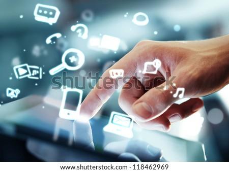 hand touching digital tablet, social media concept #118462969