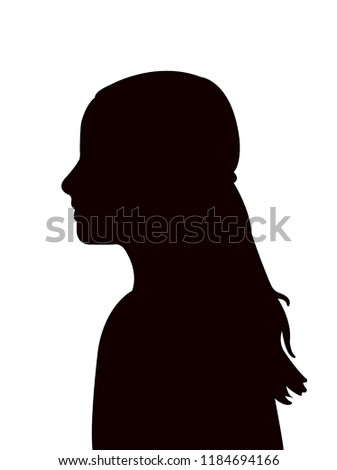 a girl head black color silhouette vector #1184694166