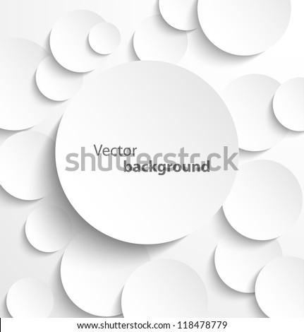 Paper circle banner with drop shadows. Vector illustration
