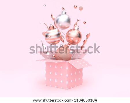3d rendering christmas ball floating gift box opening pink background