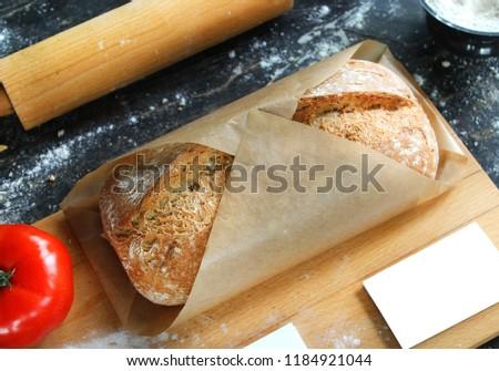 Freshbread on wooden board