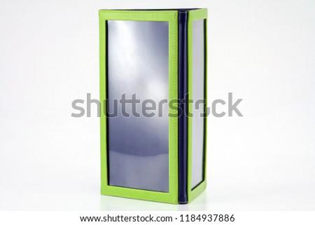 Tent Card triangle green and blue PU leather menu #1184937886