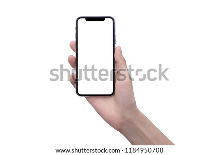 hand with smart phone of female Asia girl on white back ground isolate, touch on screen by finger and hold by hand with clipping path. #1184950708