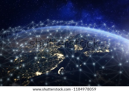 Asian telecommunication network connected over Asia, China, Japan, Korea, Hong Kong, concept about internet and global communication technology for finance, blockchain or IoT, elements from NASA #1184978059