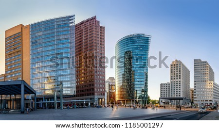 panoramic view at the potsdamer platz, berlin Royalty-Free Stock Photo #1185001297