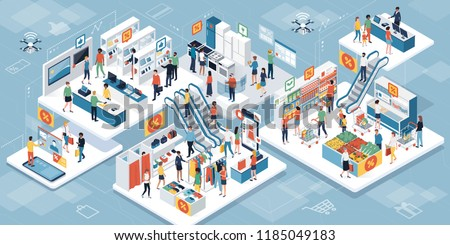 Happy people shopping together at the supermarket and buying products: augmented reality and clearance sales concept #1185049183