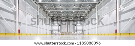 Huge cold storage warehouse. Bottom view. Royalty-Free Stock Photo #1185088096
