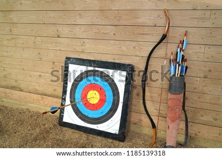 Bow and arrow old weapon system archery. #1185139318