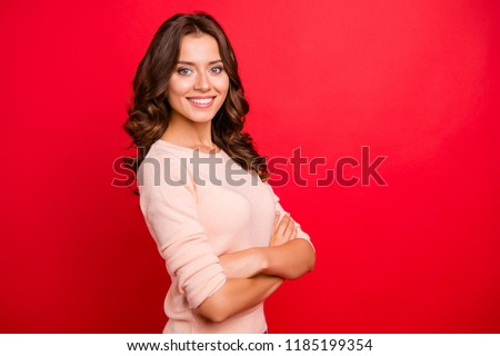 Profile side view photo of fold cross hands over chest person, stand half turn in casual wear isolated on bright red background with copy space for text