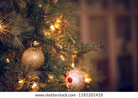 Seasonal background with Christmas toys on the tree. Celebration concept. Soft focus. Horizontal #1185201418