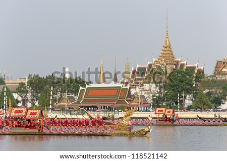 """BANGKOK, THAILAND-NOV. 6 :The rehearsals Royal barge procession on the Chao Phraya river for a traditional royal """"Kratin"""" ceremony marking the end of buddhist lent on November 6, 2012 in Bangkok #118521142"""