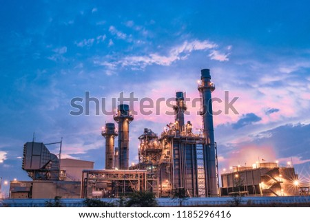 Glow light of petrochemical industry on sunset and Twilight sky ,Power plant,Energy power station area #1185296416