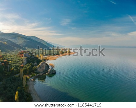 Aerial view from Lake Iznik in Turkey during autumn #1185441715