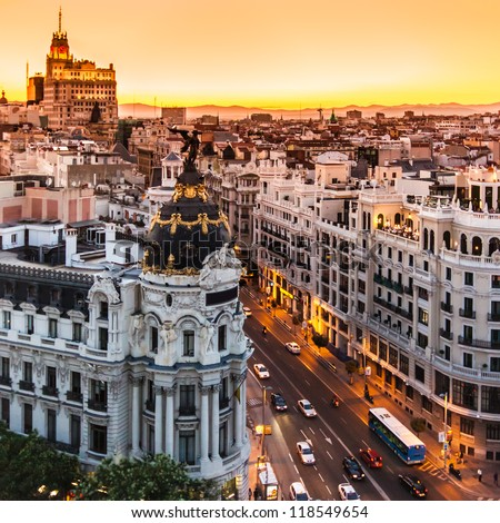 Panoramic aerial view of Gran Via, main shopping street in Madrid, capital of Spain, Europe. #118549654