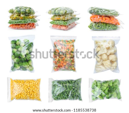 Set with frozen vegetables in plastic bags on white background Royalty-Free Stock Photo #1185538738