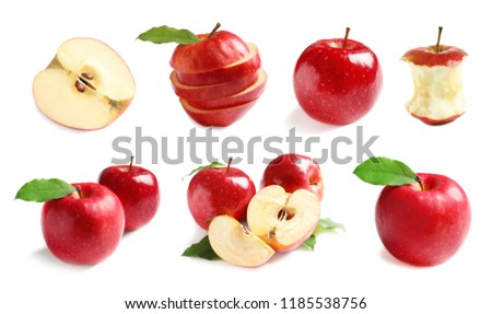 Set with delicious cut red apples on white background #1185538756