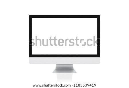 Computer display with blank screen isolated on white background, clipping path, 3d illustration