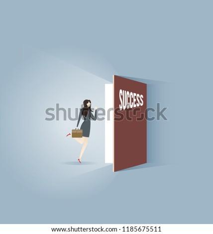 Businesswoman walking into the door to to success #1185675511