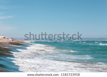 "Pomorie, Bulgaria - September 21, 2018: The area ""Kosata""around the city. The beach is one of the most beautiful on the Bulgarian coast. #1185723958"