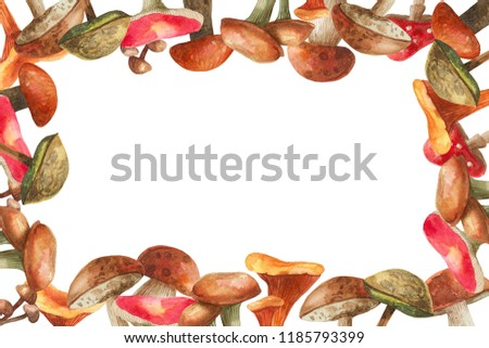 watercolor frame of hand-drawn mushrooms for design and decor #1185793399