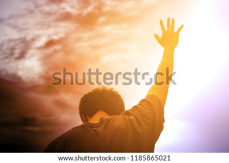 Human hands open palm up worship. Eucharist Therapy Bless God Helping Repent Catholic Easter Lent Mind Pray. Christian Religion concept background. fighting and victory for god #1185865021