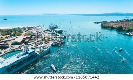 Aerial view of Badas Harbour in Sumbawa, Indonesia. Captured with drone #1185891442