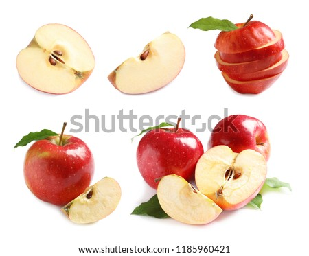 Set with delicious cut red apples on white background #1185960421