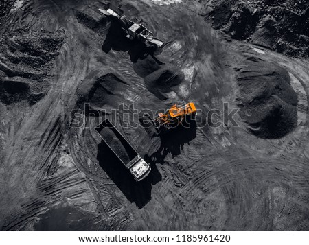 Open pit mine, extractive industry for coal, top view aerial drone #1185961420