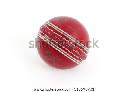 Red cricket ball isolated on a white background. #118598701