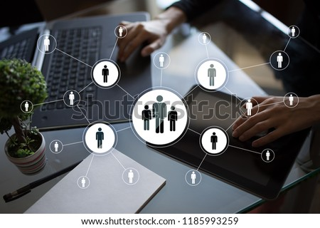 Human resource management, HR, recruitment, leadership and teambuilding. Business and technology concept. #1185993259