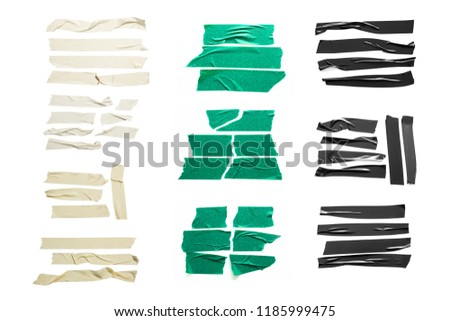 Set of white, green, black tapes on white background. Torn horizontal and different size sticky tape, adhesive pieces. #1185999475