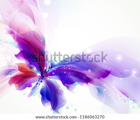 Abstract butterfly with blue, purple and cyan blots