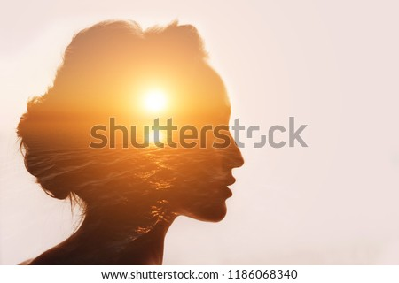 Philosophy concept. Sunrise and six senses woman. #1186068340