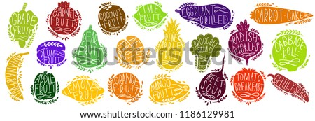 Fruit and vegetables set silhouettes with lettering. Isolated objects on white background. Fruit and vegetables logo or element for design.Vector illustration. #1186129981