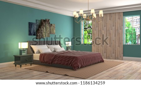 Bedroom interior. 3d illustration #1186134259