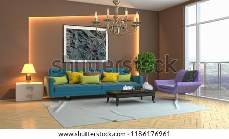 Interior of the living room. 3D illustration #1186176961