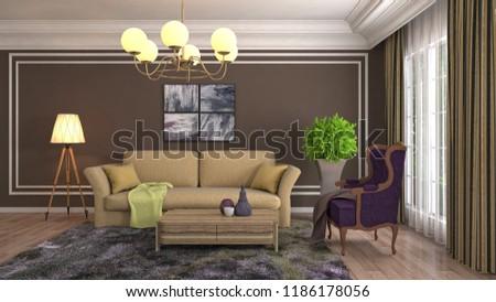 Interior of the living room. 3D illustration #1186178056