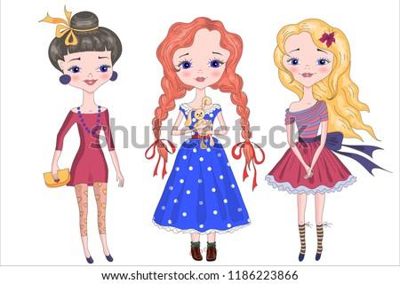 Three girls, best friends. Vector illustration. Eps 10. #1186223866