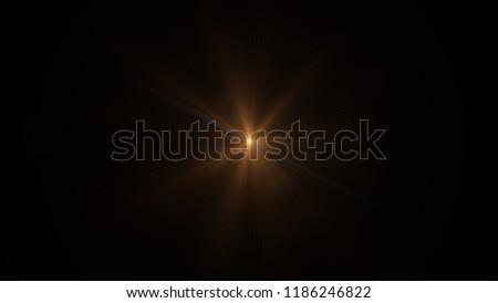 Orange light flare special effect Black background #1186246822