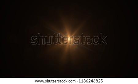 Orange light flare special effect Black background #1186246825