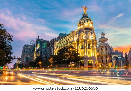 Madrid city skyline gran via street twilight , Spain  #1186256536