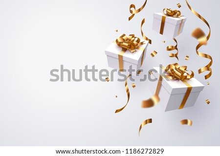 Falling gift box, Happy new year celebrate, vector art and illustration. Royalty-Free Stock Photo #1186272829