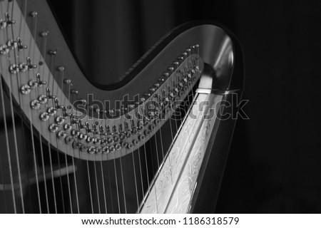 Harp music. Harp instrument closeup. Detail of musical instrument Royalty-Free Stock Photo #1186318579