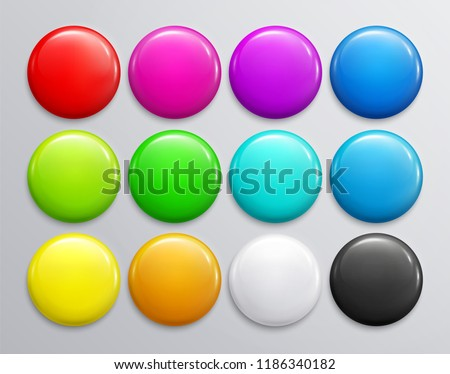 Big set of colorful glossy badge or button. 3d render. Round plastic pin, emblem, volunteer label. Vector. Royalty-Free Stock Photo #1186340182