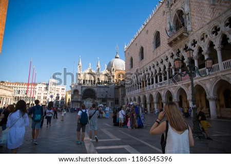 Venice. Italy. September 8, 2018.Historic buildings in the city of Venice #1186345396