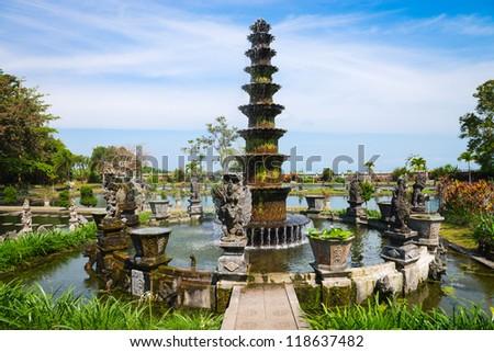 Big fountain in Royal water palace and pools Tirthagangga, Bali island, Indonesia #118637482