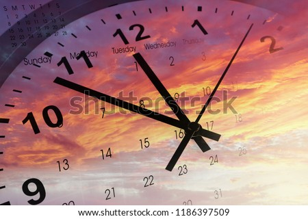 Clock and calendar in bright sky. Time passing #1186397509