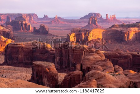 Monument Valley on the Navajo Nation on the Arizona - Utah border, richly colored buttes with dramatic clouds #1186417825