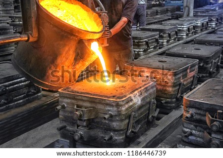 Casting and foundry. Casting is the process from which solid metal shapes (castings) are produced by filling voids in molds with liquid metal.  Patternmaking is the process for producing these pattern #1186446739