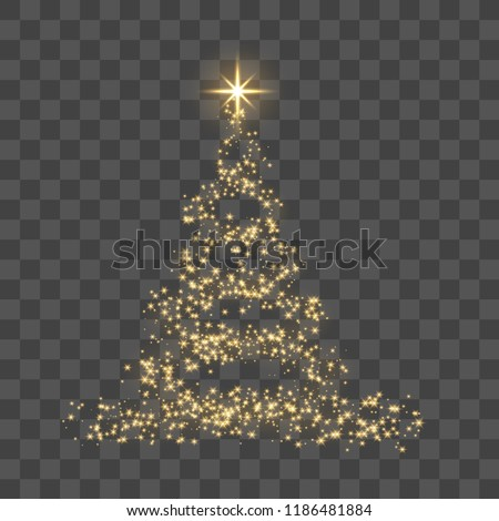 Christmas tree on transparent background. Gold Christmas tree as symbol of Happy New Year, Merry Christmas holiday celebration. Golden light decoration. Bright shiny design Vector illustration #1186481884